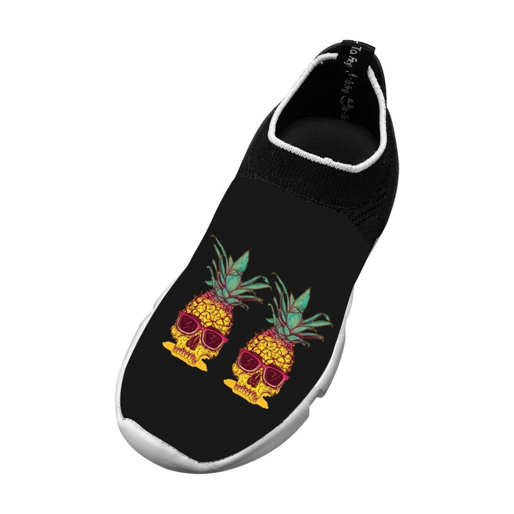 MREIO Pineapple Ananas Skull Childrens 3D Print Fly Knit Shoes Outdoor Loafers Sneakers Running Shoes For Girls