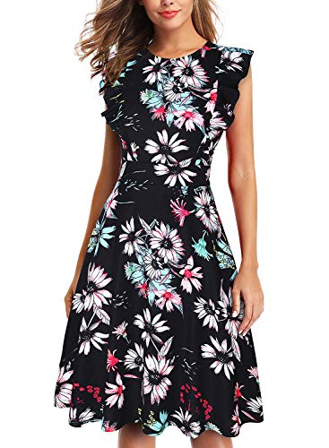 - IHOT Women's Vintage Ruffle Floral Flared A Line Swing Casual Cocktail Party Dresses