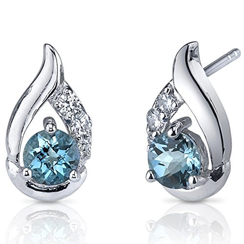London Blue Topaz Earrings Sterling Silver Checker Cut by Peora