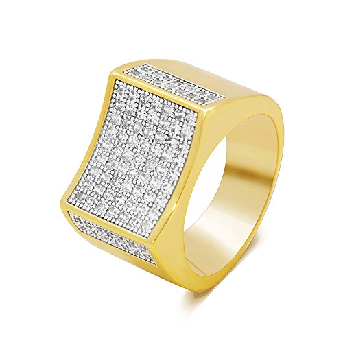 LuReen Gold/Silver Twotone Square Iced Out Hip Hop Rings (10) by LuReen
