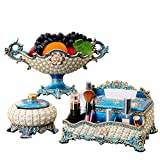 HONGNA European-Style Tissue Box Three-Piece Suit Living Room Coffee Table Decoration Ornaments American Luxury Home Creative Tray High-Grade (Ashtray Tissue Box Fruit Plate) (Color : A)