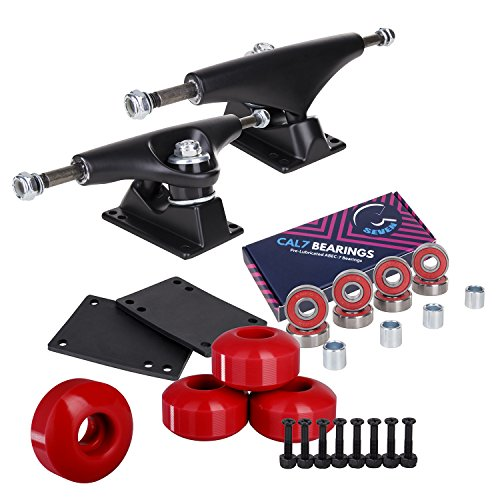 Cal 7 Skateboard Package | Complete Combo Set with 139 Millimeter / 5.25 Inch Aluminum Trucks, 52mm 99A Wheels & Bearings (Black Truck + Red Wheels)