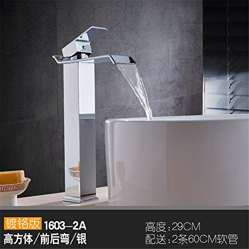 Modern Brass Constructed Polished Hot And Cold Basin Sink Faucet Bathroom Sink Faucet Copper Basin Faucet Hot And Cold Single Hole Gold Antique Black Wash Basin Wash Wash Basin Waterfall Faucet, 14