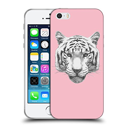 GoGoMobile Coque de Protection TPU Silicone Case pour // Q05470630 tigre blanc Rose // Apple iPhone 5 5S 5G SE