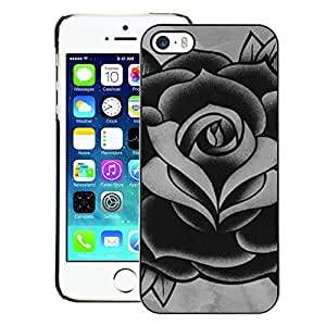 A-type Arte & diseño plástico duro Fundas Cover Cubre Hard Case Cover para iPhone 5 / 5S (Rose Black White Grey Ink Tattoo Petal)