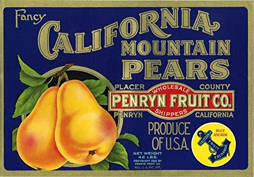 - WholesaleSarong California Mountain Pears Crate Label Art Poster bar Pub Decor Wall Decor
