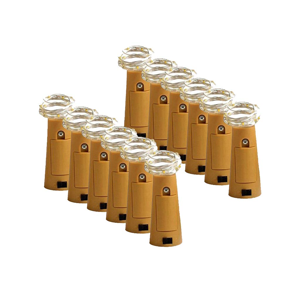 Bottle Lights, YIGO 12Pack Cork-Shape Bar String LED Lights for Wine Bottle Glass Decor Copper Wire DIY Lights with Screwdriver for Party(Pure White)