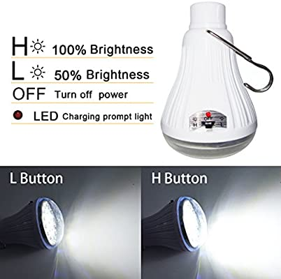 LETOUR LED Work Light Bulb with Hanging,USB Rechargeable Camping Light 60W 5000Lumens 5 Levels Dimmable,Outdoor Portable Light Camping//Patio//Garden//BBQ