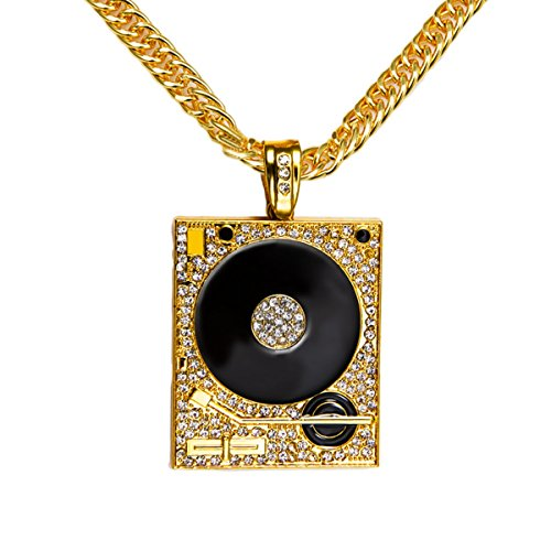 Hip Hop Rock DJ Phonograph Pendant Necklace - Famous Hollywood Couples Costumes