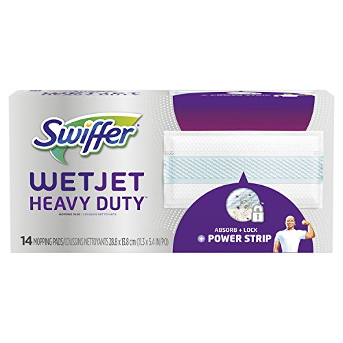 (Swiffer WetJet Extra Power with Mr. Clean Magic Eraser Hardwood Floor Cleaner Refills, Wet Jet Spray Mop Pad Refill, 14 Count (Pack of 4))