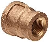 This class 125 reducing coupling is a brass pipe fitting with two female National Pipe Taper (NPT) threaded ends for connecting male pipes and fittings of different sizes. One end of the coupling is smaller than the other for connecting two m...