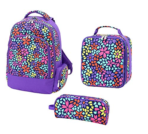Petal Punch Purple 17 x 12 Polyester Backpack Lunch Box Pencil Assortment Set