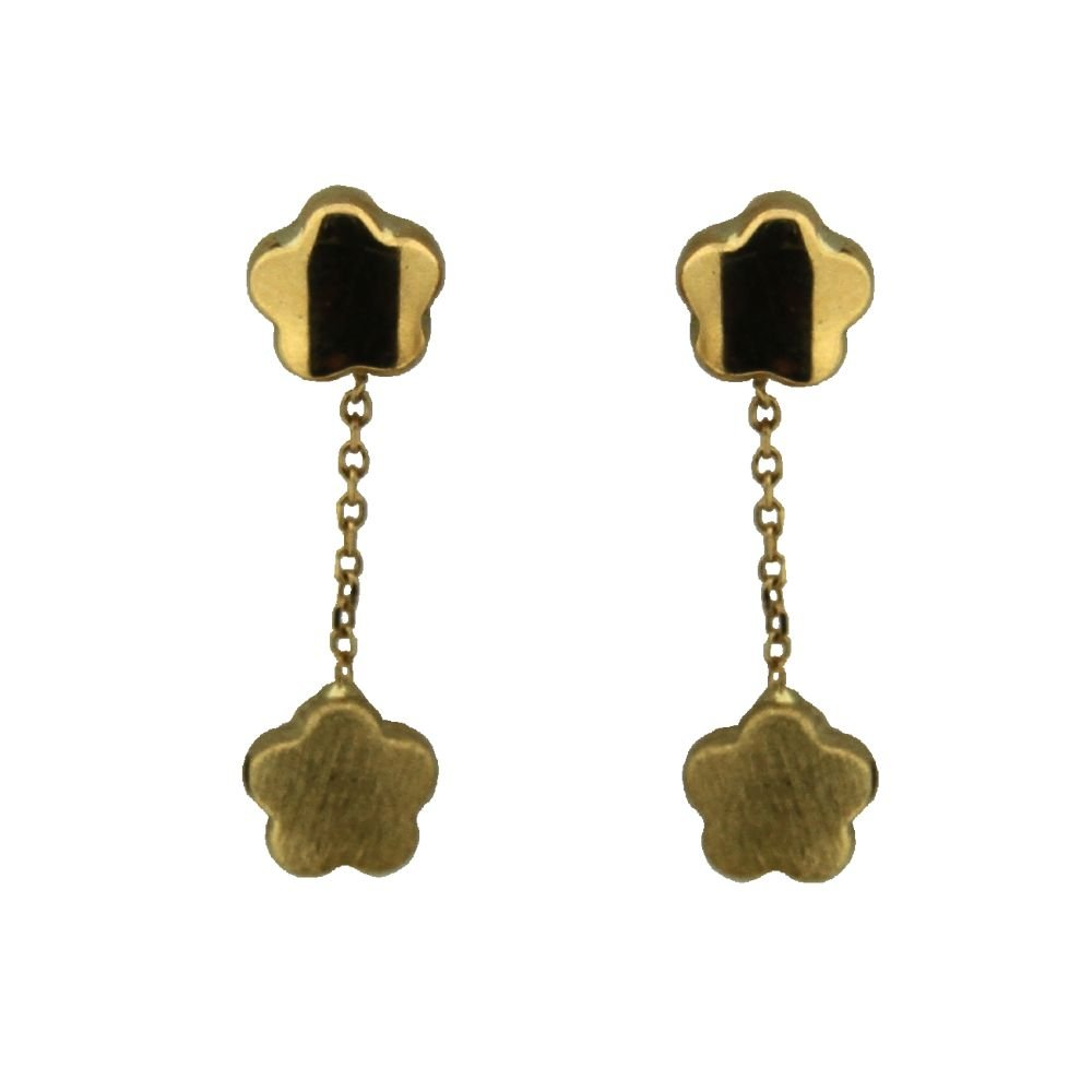 18K Yellow Gold Top Polished Flower and Bottom Satin Finish Flower Dangle Post earrings L 1.0 inch