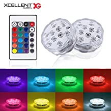 Xcellent Global 2 pcs Submersible LED Lights Pool lights 10 LED RGB Multi Color Waterproof Wedding Party Vase Base Floral Light with 2 Remote Controllers LD142
