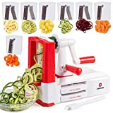 Vegetable Spiralizer, Slicer, Noodle Maker | Complete 7-Blade Zucchini Spaghetti Maker Set w/ 10 Recipe Book Included by Dimrom | Ultra-Sharp Blades Veggie Spiral Slicer, Powerful Suction Cup