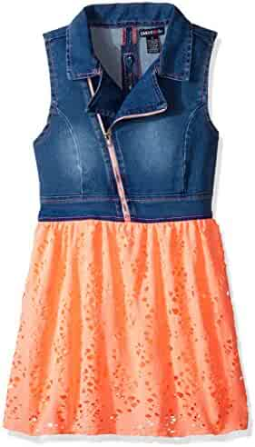 Limited Too Girls' Stretch Sateen Moto Denim and Flowing Poly Lace Dress