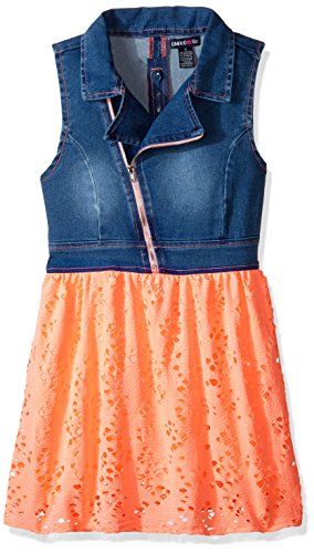 Limited Too Girls' Little' Stretch Sateen Moto Denim and Flowing Poly Lace Dress, 2795 Neon Light Coral, 6X