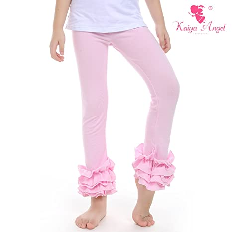 Kaiya Angel Girl Ruffle Leggings Baby Ruffle Pants Solid Color Cotton For Winter 2-9 Year (light-pink) (90)