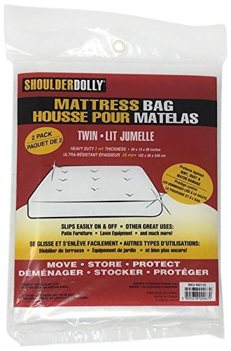 Shoulder Dolly M2090 Mattress Bag for Storage, Moving, Protection-Premium Quality Plastic-Full Size 2 (Full Mattress Bag)