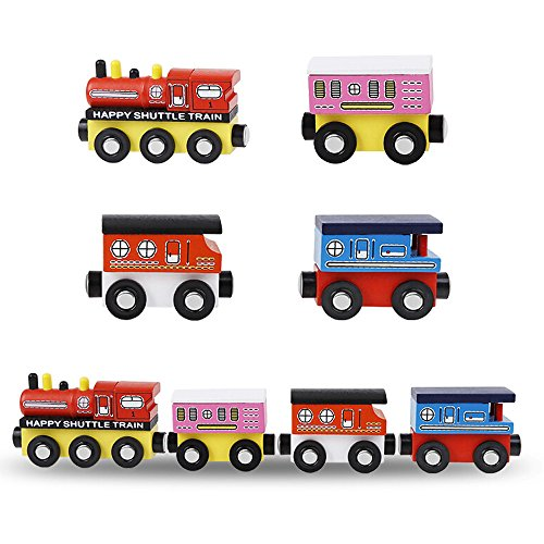 MinYn Wooden Train Cars with Magnetic Engine Deluxe Train Toy Set Collection Set for Kids Boys and Girls - 4 pieces(Happy shuttle train series)