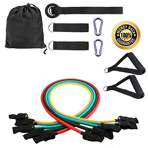 YOOKOON Resistance Bands Set, Workout Bands - with Cooling Towel, Door Anchor, Handles and Ankle Straps - Stackable Up to 105 Lbs - for Resistance Training, Physical Therapy, Home Workouts, Yoga