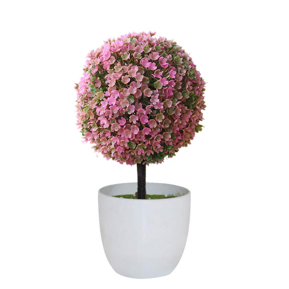 WillowswayW 人工フェイクプラント ポット付き トピアリーボール型 ホームデコレーション one size ピンク B07H56VJMN ピンク one size