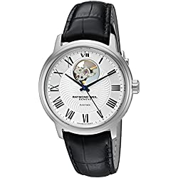Raymond Weil Men's 'Maestro' Swiss Automatic Stainless Steel and Leather Casual Watch, Color:Black (Model: 2227-STC-00659)