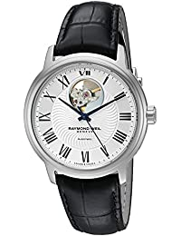 Men's 'Maestro' Swiss Automatic Stainless Steel and Leather Casual Watch, Color:Black (Model: 2227-STC-00659)
