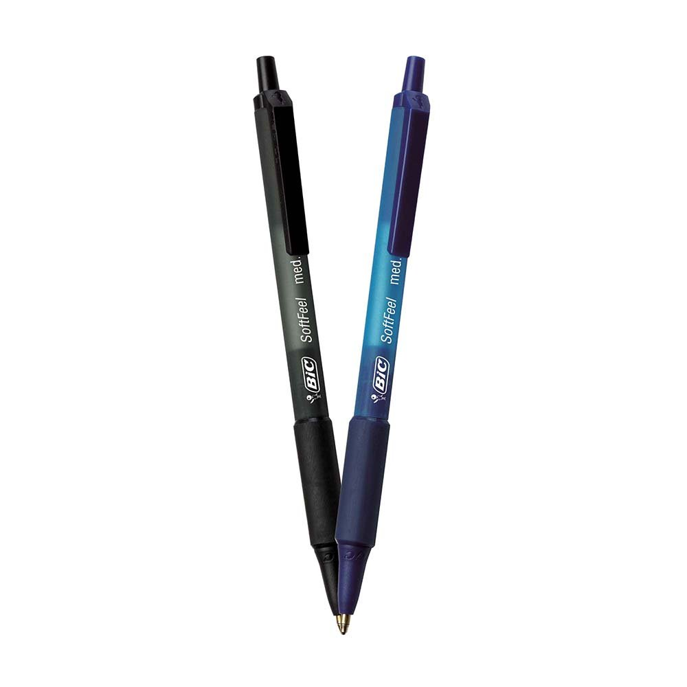 BIC Soft Feel Retractable Ballpoint Pen, Medium Point (1.0mm), Black and Blue, 36-Count by BIC (Image #2)