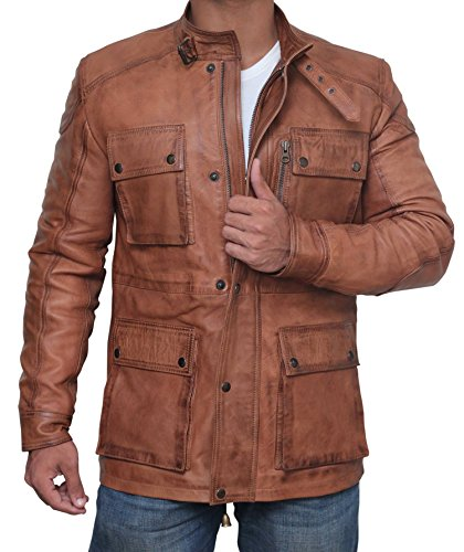 Alaska Lambskin Leather Jacket - Four Pockets Brown Leather Jacket Men