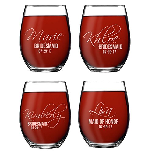 Set of 1, 2, 3, 4, 5, 6, 7, 8 Custom Etched Bride, Bridesmaid Stemless Wine Glasses - Personalized Wedding Party Glass Gifts - Feather Tip Style (4) ()