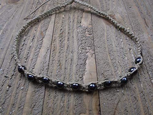 (BEACH HEMP JEWELRY Hematite Beaded Necklace Choker Handmade In USA)