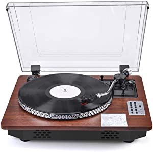 Record Player with Speakers Turntable for Vinyl Records Bluetooth in & Out USB Direct Vinyl to MP3 Recording Professional LP Vintage Record Player