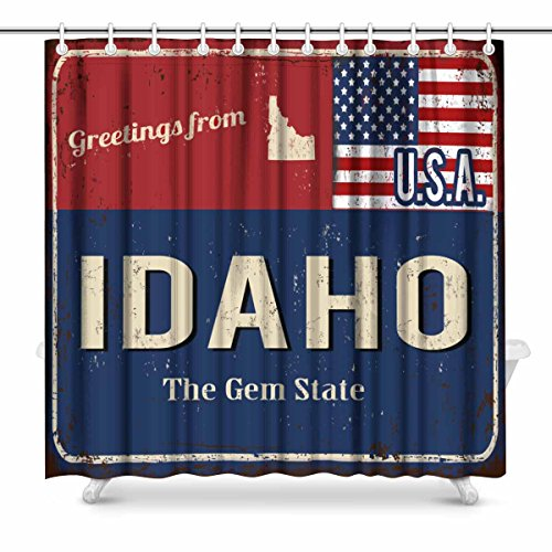 InterestPrint Greetings from Idaho Rusty Metal Sign with American Flag Waterproof Polyester Fabric Shower Curtain Bathroom Sets with Hooks, 72(Wide) x 72(Height) Inches