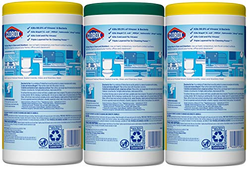 Clorox Disinfecting Wipes Value Pack, Cleaning Wipes, Bleach Free, 75 Count Each, Pack of 3 (Package May Vary)