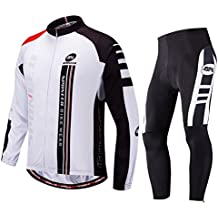 sponeed Men's Cycling Jersey Suit Long Sleeve Mountain Bike Road Bicycle Shirt Tights Padded Biking Jakcet Outfit