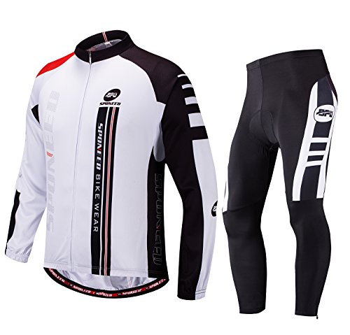 Sponeed Mens Biking Jersey Full Sleeve Cycle Pants Padded Road Bike Shirt Leggings for Bicycle XL - Cycling Team Apparel