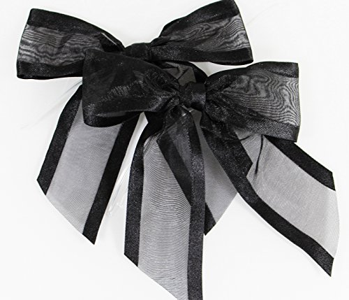 Black Pre-Tied Organza Bows with Twist Ties. Pack of 12 Satin-Edged Fabric Bows Made of 1-1/2