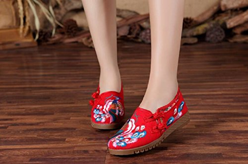 Lazutom Casual Embroidery Flats Style Chinese Lady Women Vintage Red Shoes Walking 0rxqRwFB0