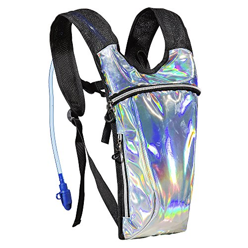 ECEEN Rave Pack Hydration Backpack with 2L Water Bladder Bag for Music Festivals, Raves, Hiking, Biking, Climbing, Running, Outdoors and More (Holographic Silver), 16