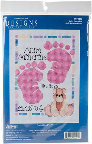Janlynn Special Moments Baby Footprints Magenta Frame 14 Count 5 by 7-Inch Counted Cross Stitch Kit, Mini
