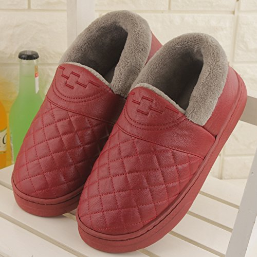Fankou Autunno e Inverno pantofole di cotone femmina pacchetto impermeabile con un paio di spessore caldo e antiscivolo Tomaia in pelle colore solido home pantofole ,43-44, il vino rosso