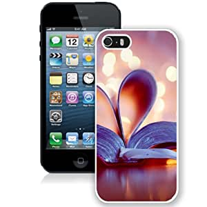 NEW Unique Custom Designed iPhone 5S Phone Case With Book Love Heart Bokeh_White Phone Case