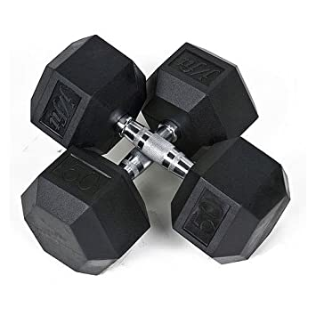Pair of 50 lbs Rubber Coated Hex Dumbbells