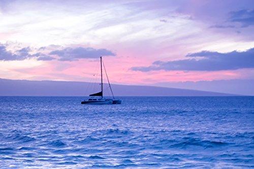 Sailboat Sunset Picture, Nautical Decor Print, Coastal Ocean Seascape Wall Art