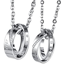 UM Jewelry Women's Men's Stainless Steel Crystal Double Rings Engraved Pendant Couples Necklace