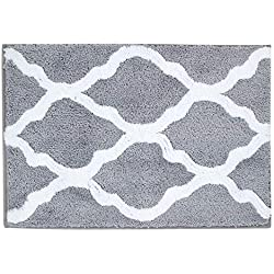 "Pauwer Microfiber Bathroom Rugs Geometric, Non Slip Bath Rugs Floor Mat Machine Washable (18×26"", Grey)"