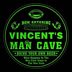 4x ccqa1579-g VINCENT'S Man Cave Football Bar Beer 3D Etched Engraved Drink Coasters