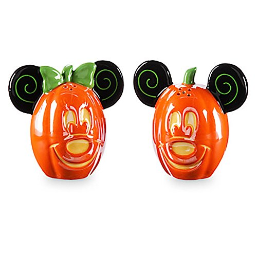 Disney Parks Mickey Minnie Mouse Pumpkin Halloween Salt Pepper Shakers by disney