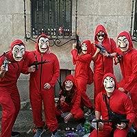BeeUgy Adultos Niños La Casa De Papel Disfraz de Cosplay Dali Red Disfraz de Mono Grande con máscara Disfraz de Halloween Juego de Roles Disfraz